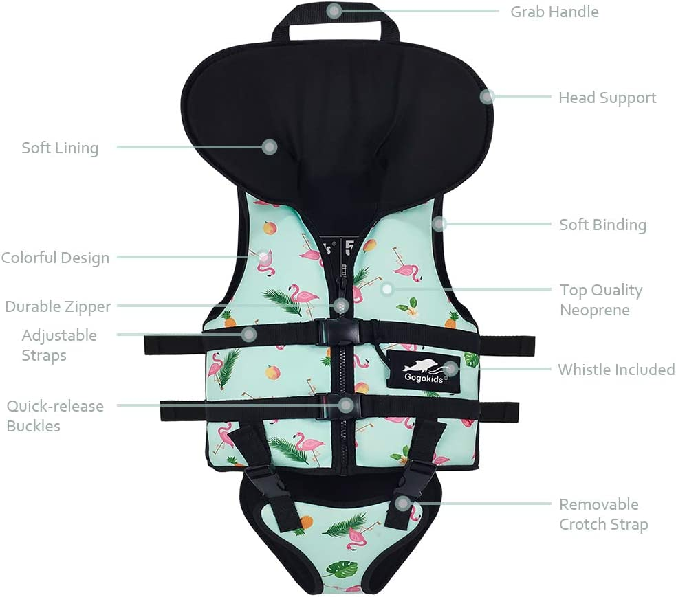 Gogokids Baby Swim Float Vest Kids Swimming Jacket Children Toddler Flotation Swimsuit Buoyancy Swimwear with Headrest