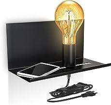 B.K.Licht I Verstelbare wandlamp met plank I Kabelschakelaar I Mat zwart I 1 vlam I E27 I Retro wandlamp