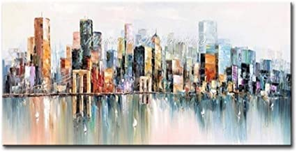 SANSNMI Oil Paintings On Canvas Handmade Art Pictures Room Spectacular City View Landscape Paintings Hotel Decor Art No Fr...