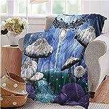 Trippy Manta de franela abstracta Dreamlike Forest Scenery at Night con setas Pixie polvo y burbujas invierno cálido manta 60 x 80 pulgadas Multicolor tamaño doble