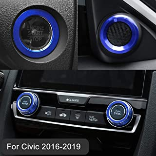 Aluminum Audio Speaker Engine Ignition Air Condition AC Switch Buttons Ring Sticker Decoration Trim for Honda Civic 10th Gen 2016-2019(Full Set)
