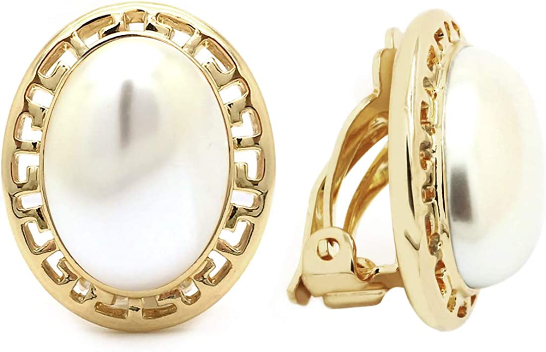 Clip On Earrings Gold Plated Simulated Pearl Oval Greek Key Women Fashion