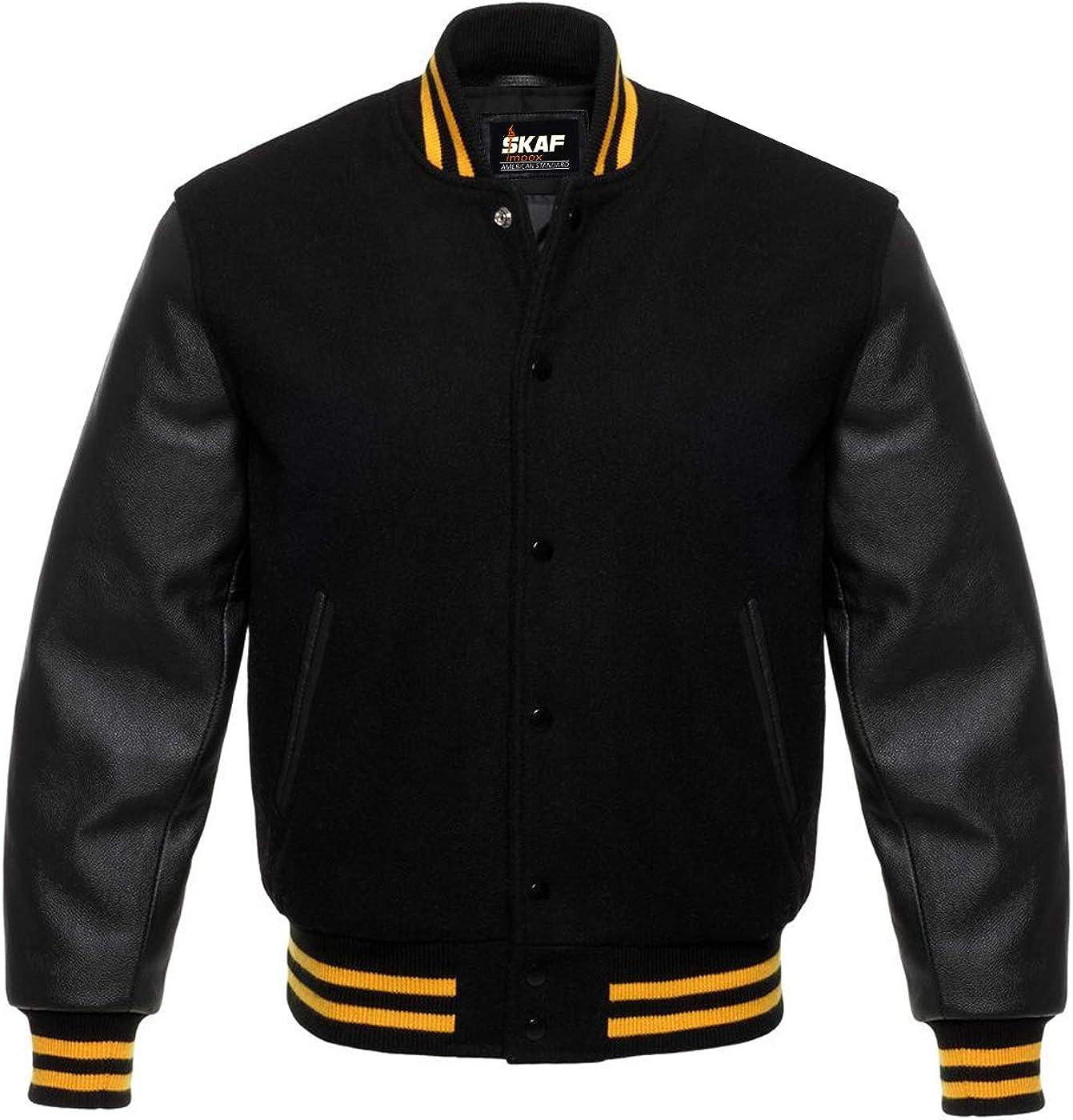 Skaf Impex American Baseball Letterman Bomber Sports Varsity Jacket Wool & Genuine Cow Leather XS~7XL