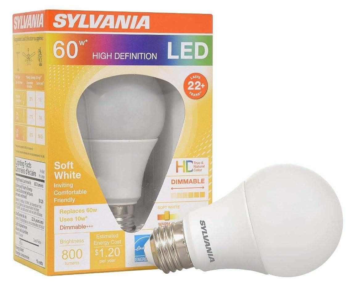 SYLVANIA 78111 60W Equivalent, LED Light Bulb, A19 Lamp, Efficient 10W, Soft White 2700K, 1 Pack