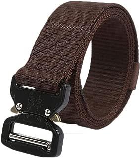Men's Multifunction Outdoor Belt Training Nylon Belt Pin Buckle Belt Long 125cm (Color : Coffee)