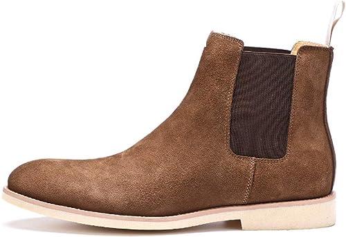 ZHRUI Stiefel Chelsea de Cuero Genuino clásicas para Hombre Stiefel de Suela Suave y Confort duraderas (Farbe   braun, tamaño   EU 46)