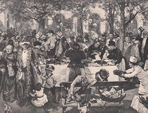 Bad Kissingen - Morgenbuffet der Feinbäcker (Konditoren) in Bad Kissingen. Das Buffett ist unter Bäumen aufgebaut, Menschen drängen sich um den Tisch um die Leckereien zu kaufen. [Grafik]