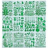 12 Plantillas Dibujos Pintura Navidad 20x14cm Plantillas para Pintar Navideñas Sténcil Plástico...