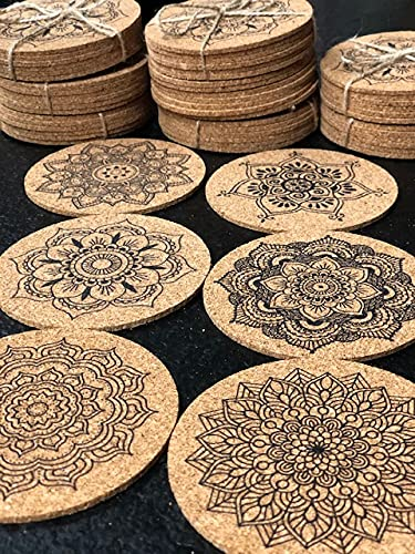 Set de 6 Posavasos de Corcho, Posavasos Redondos ecológicos, Posavasos absorbentes, Resistentes al Calor, Posavasos Naturales de 10 cms. (Mandalas)