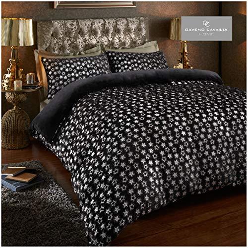Easy Care Teddy Star Foil Fleece Duvet Cover Set with Pillowcases, Soft & Warm Quilt Set, Double, Black