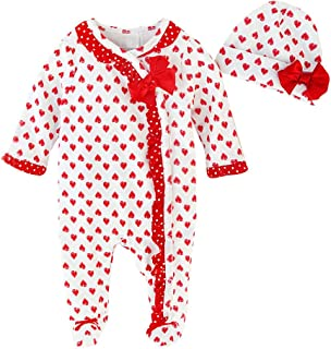 Pollyhb Infant Baby Romper Playsuit for Girls Heart Print Bow Long Sleeves Jumpsuit Clothes and Hat Comfortable Suit Clothes