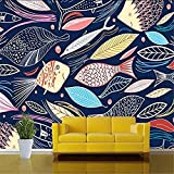 XHXI Arte 3D Mural de arte abstracto pintado a mano peces TV telón de fondo decoración pinturas rest Pared Pintado Papel tapiz 3D Decoración dormitorio Fotomural sala sofá pared mural-400cm×280cm