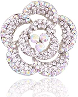 N/W Woman Brooches Romantic Rose Flower Opal Wedding Brooch Pin Jewelry For Women Jewelry Silver Plated