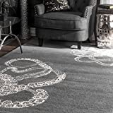 nuLOOM Octopus Tail Abstract Wool Area Rug, 5' x 8', Midnight