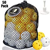 CAITON 50 Pack Plastic Golf Balls, Practice Golf Balls Wiffle Perforated Training Golf Balls for Home Putting Practice Backyards Swing Practice, Driving Range, Adjustable Rubber Tee