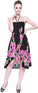 LLJ Hawaii Women's Hawaiian Butterfly Dress in Black with Pink Hibiscus Print