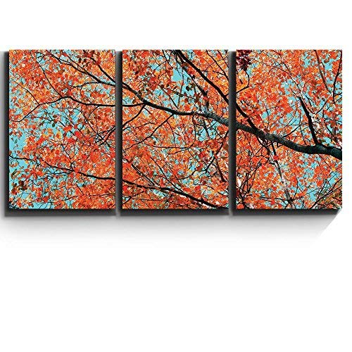 "3 Piece Canvas Print - Contemporary Art, Modern Wall Decor - Orange leaves on tree branches - Giclee Artwork - Gallery Wrapped Wood Stretcher Bars - Ready to Hang- Wall26 - 16""x24""x3 Panels"