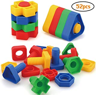 Jumbo Nuts and Bolts Toys 52Psc for Toddlers Preschoolers Kids, STEM Educational Montessori Building Construction Screw Matching Activities for 3,4,5 Year Old Boy and Girl.
