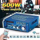 Amplificador de bajos (600 W, 2.0, Bluetooth, Hi-Fi, estéreo, para el hogar, el coche, digital, BT-253, 600 W)