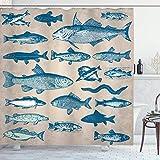 Colección náutica costera marina, criaturas marinas, peces tropicales, acuario, impresiones acuáticas, pesca subacuática, playa, baño, tela de poliéster, 172 x 172 cm, color gris pardo azul marino