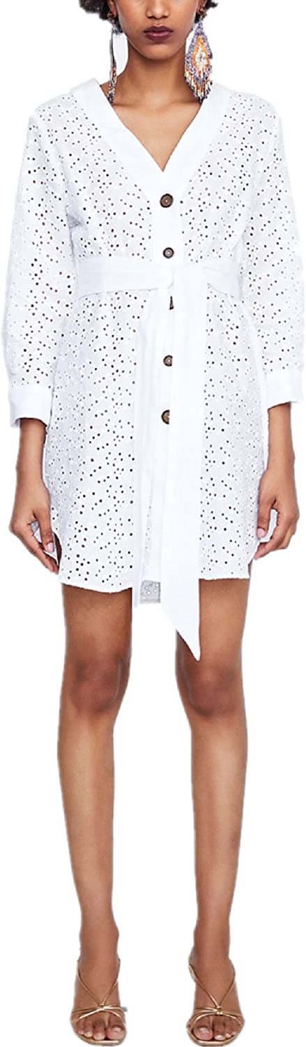 Princessdresscode Woman Contrast Tunic with Bow Dress Cutwork Off White