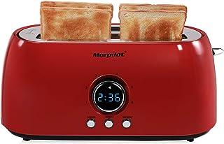 Morpilot Grille Pain 4 Tranches Inox Rouge Vintage Toaster Grille-pain 2 Fentes Larges et Longues avec Countdown Digital, ...