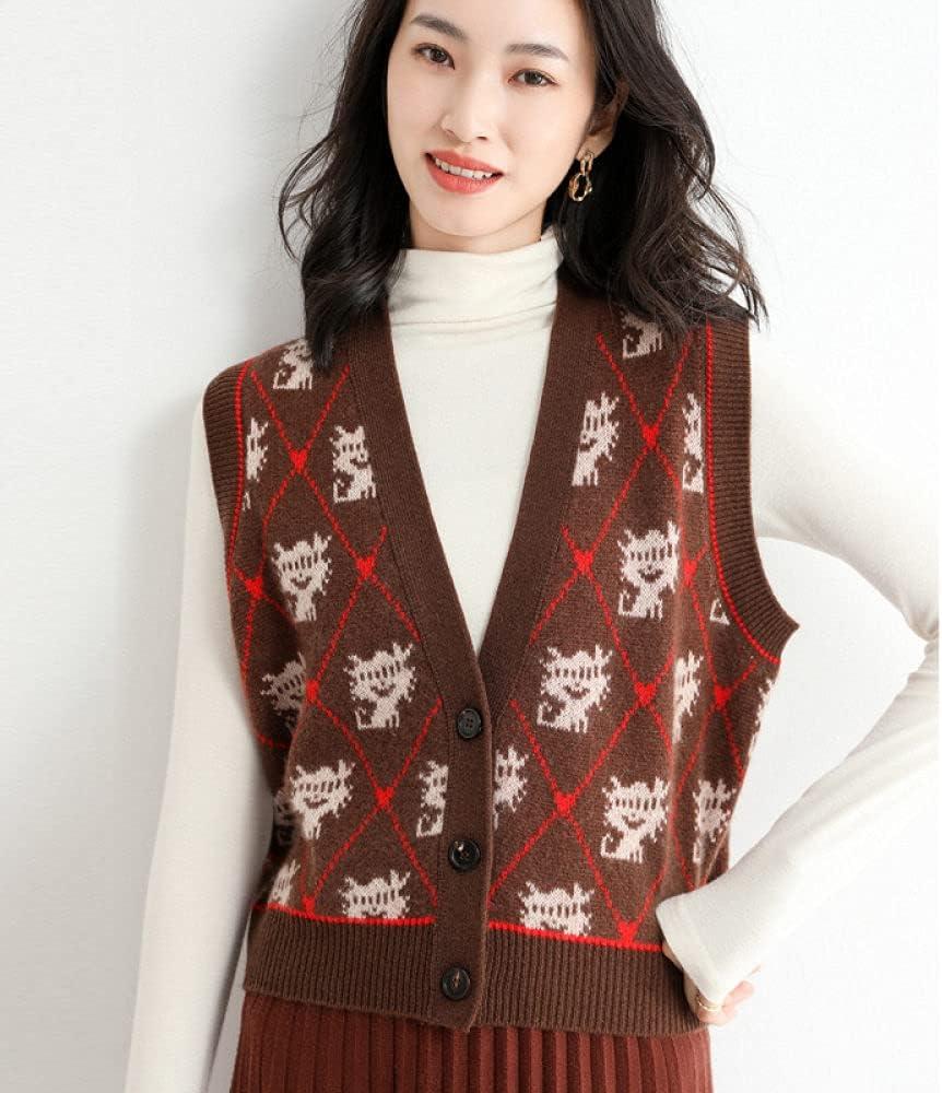 Sweater Vest,Women Sleeveless Sweater Vest V Neck Argyle Plaid Cartoon Pattern Jacquard Knitted Button Cardigan Sweater Vest Streetwear Preppy Style Knitwear Tank Top Pullovers Autumn Winter,Brown,M
