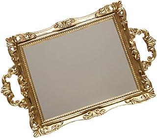 BESTONZON Vintage Mirror Tray Retro Gold Mirror Tray Square Dresser Organizer Tray Jewelry Trinket Tray Jewelry Dish Ring ...
