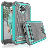 Tekcoo Moto Z2 Play Case, Tekcoo Motorola Z2 Play Droid Cute Case, [Tmajor] Shock Absorbing [Turquoise] Rubber Silicone & Plastic Scratch Resistant Bumper Grip Hard Cases for Moto Z Play 2017 Cover