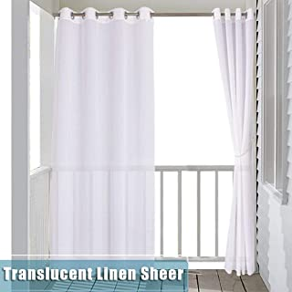 RYB HOME Sheer Curtain for Patio - Indoor Outdoor Curtain White Linen Look Semitransparent Privacy Drape for Gazebo/Cabana with 1 Tieback Rope, Wide 54 by Long 84 inch, 1 Panel
