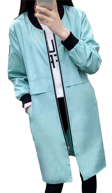 BeiBang(バイバン)レディース ロング スタジャン ジップアップ ブルゾン 薄手 春服 ジャンパー 無地 ジャケット カジュアル アウター トレンチコート