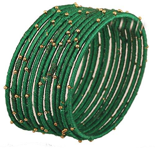 Touchstone Brazalete de Hilo de Seda Hecho a Mano con imitación de Hilo de Seda de Aspecto exótico con Pulseras de Brazalete de diseñador de Cuentas para Mujer 2.37 Conjunto de 12 Verde