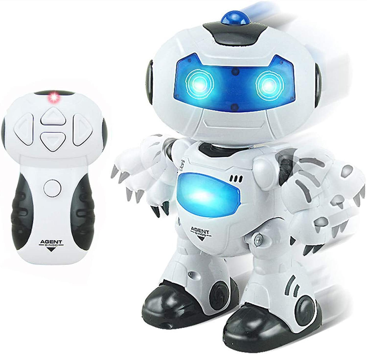 LAIHUISmart Robot Remote Control Electronic Walking Dancing Vocal Toy, Robot Toy Assistant Intelligent, RC Music & Light Robot Early Learning and Birthday Gift (White)