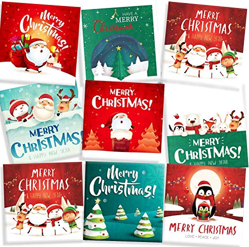 64Pcs Christmas Card Money Holders 8 Designs Holographic Xmas Holiday Festival Greeting Card Including 32 Cards and 32 Envelopes