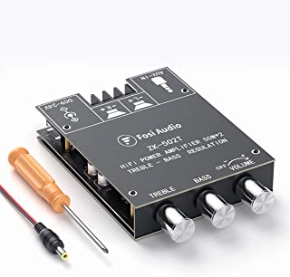 Bluetooth 5.0 Stereo Audio Receiver Amplifier Board 2 Channel Mini Wireless High Power Digital AUX Amp Module Bass and Tre...