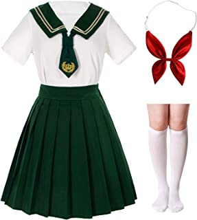 Japanese School Girls Sailor JK Uniform White Green Pleated Skirt Anime Cosplay Costumes with Socks Set(SSF27)