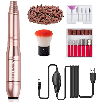 20000 USb Acrylic Nail Kit Drill Gift Sets, Professional Manicure Pedicure Drills for Acrylic Nails Gel Polishing Shape Tools with Bits and Sanding Bands Efile Nail Drill Kit - Gold