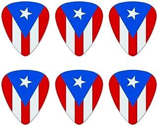Puerto Rico Country Flag Novelty Guitar Picks Medium Gauge - Set of 6