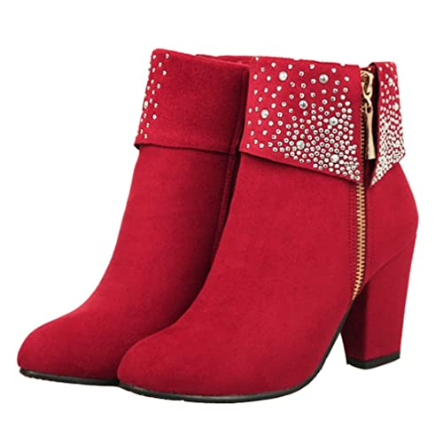 9a80545ac138 HiTime Ladies Charmingly Rhinestone Ankle Boots Zip Block Heel Dress Boots  Size 2-10 (