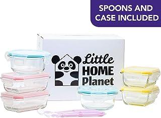 comprar comparacion Little Home Planet® Set de 6 Contenedores de Alimentos para Bebe en Cristal   2 Cucharas y Funda de Silicona   Cubiertos c...
