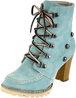 Women¡s Leisure Rivets Shoes Non-Slip Lace-Up High Heel Short Tube Boots