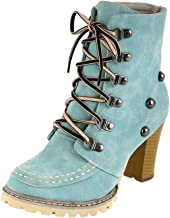 Todaies Women¡s Leisure Rivets Shoes Non-Slip Lace-Up High Heel Short Tube Boots