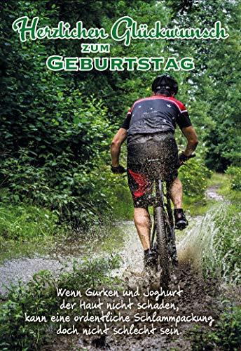 Geburtstagskarte für Männer, Geburtstag, B6, im Format DIN B6 176 x 125 mm, Klappkarte inkl. Umschlag, Motiv: Fahrrad