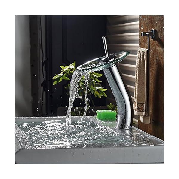 Inchant Cascada Contemporáneo Contemporáneo Caño de Cristal Lavabo Fregadero Mezclador Grifo Cromo Pulido Comercial Baño…