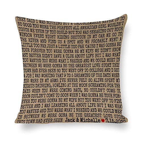 BYRON HOYLE Wedding Cushion Cover,First Dance Song Lyrics Pillow cases,Cotton Linen Pillow Covers for Bedroom and Couch,Square Decorative Throw Pillow Cover,Home Decor,Housewarming Gift