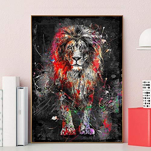 N / A colorido animal león pintura abstracta moderna pared arte imagen para el hogar arte arte arte lienzo pintura decoración del hogar 50 x 75 cm