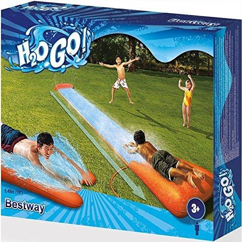 Bestway 52198 Dell'acquascivolo Pista ad acqua 1 Scivolo d'acqua H20 Go, 549 x 82cm con Rampa di lancio Irrigatore