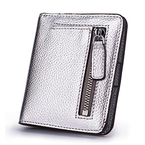 AINIMOER Damen RFID sperr Leder kleines kompaktes Bifold Tasche Portemonnaie Mini Portemonnaie mit id fenstern einheitsgröße Silber RFID Blocking