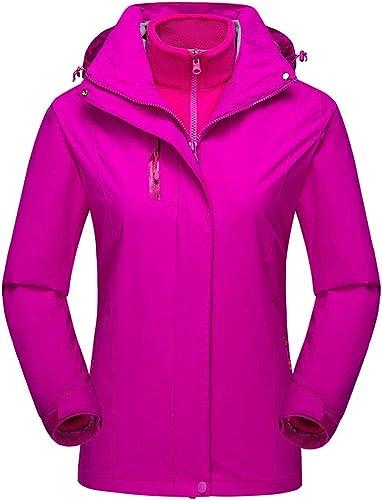 W&TT Femmes De Sport Alpinisme, 3-en-1 Détachables Doublés épaissir Veste à Capuchon Coupe-Vent Imperméable à l'eau Chaude Veste Extérieure en Deux Pièces,violet,XS
