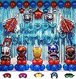 70pcs Superhero Party Decoration kit Superhero Balloons Avengers Balloons including balloons foil backdrop and air pump